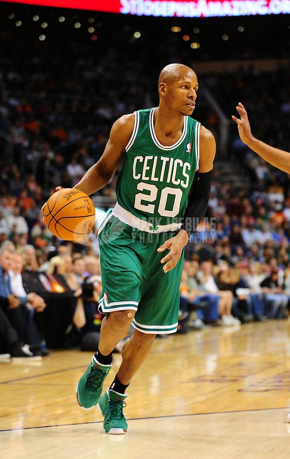 Jan. 28, 2011; Phoenix, AZ, USA; Boston Celtics guard (20) Ray Allen against the Phoenix Suns at the US Airways Center. Mandatory Credit: Mark J. Rebilas-