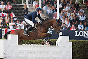 28th September 2017, Real Club de Polo de Barcelona, Barcelona, Spain; Longines FEI Nations Cup, Jumping Final;  Henrik VON ECKERMANN (SWE)  riding Mary Lou 194 during the first round of the Nations Cup