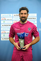 Golden Glove winner Enaut Zubikarai after the Oceania Football Championship final (second leg) football match between Team Wellington and Auckland City FC at David Farrington Park in Wellington, New Zealand on Sunday, 7 May 2017. Photo: Dave Lintott / lintottphoto.co.nz