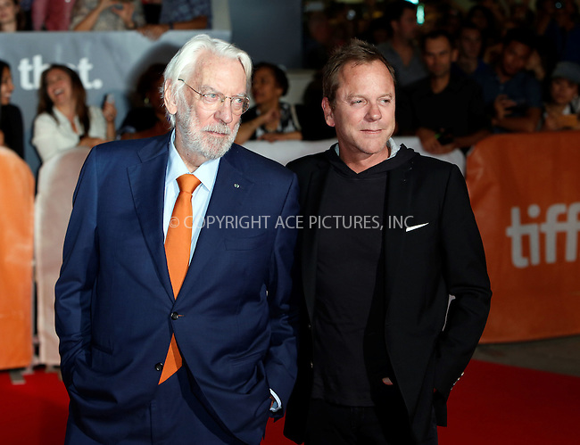 WWW.ACEPIXS.COM<br /> <br /> September 15 2015, Toronto<br /> <br /> Actors Donald Sutherland (L) and Kiefer Sutherland attend the premiere of Forsaken at the 40th Toronto International Film Festival, TIFF, at the Roy Thomson Hall on September 15 2015 in Toronto, Canada<br /> <br /> By Line: Famous/ACE Pictures<br /> <br /> <br /> ACE Pictures, Inc.<br /> tel: 646 769 0430<br /> Email: info@acepixs.com<br /> www.acepixs.com