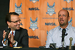 06 December 2011: Colin Clarke (right) with team executive Dean Linke (left). The Carolina RailHawks introduced Colin Clarke (NIR) as the team's new head coach at a press conference held at WakeMed Stadium in Cary, North Carolina. The RailHawks play in the North American Soccer League, the second division of professional soccer in the United States and Canada.