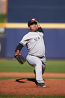 Scottsdale Scorpions pitcher Nestor Cortes (28), of the New York Yankees organization, during a game against the Peoria Javelinas on October 22, 2016 at Peoria Stadium in Peoria, Arizona.  Peoria defeated Scottsdale 3-2.  (Mike Janes/Four Seam Images)