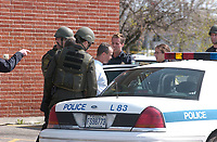 2003 File Photo<br /> <br /> Policemen at work during an hostage crisis near  Montreal, CANADA.<br /> <br /> <br /> (Mandatory Credit: Photo by Sevy - Images Distribution (©) Copyright 2003 by Sevy<br /> <br /> NOTE :  D-1 H original JPEG, saved as Adobe 1998 RGB.