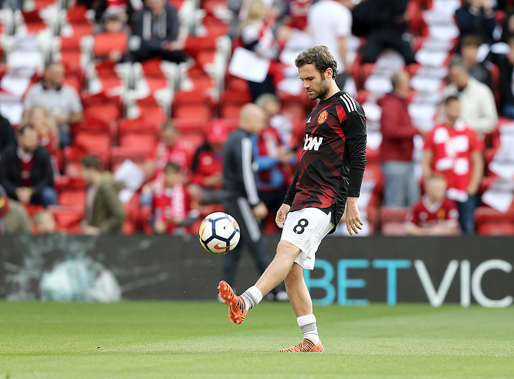 Manchester United's Juan Mata during the pre-match warm-up <br /> <br /> Photographer Rich Linley/CameraSport<br /> <br /> The Premier League - Liverpool v Manchester United - Saturday 14th October 2017 - Anfield - Liverpool<br /> <br /> World Copyright &copy; 2017 CameraSport. All rights reserved. 43 Linden Ave. Countesthorpe. Leicester. England. LE8 5PG - Tel: +44 (0) 116 277 4147 - admin@camerasport.com - www.camerasport.com
