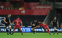 Ospreys' Ma'afu Fia is tackled by Scarlets' Lewis Rawlins<br /> <br /> Photographer Ashley Crowden/CameraSport<br /> <br /> Guinness Pro14 Round 6 - Ospreys v Scarlets - Saturday 7th October 2017 - Liberty Stadium - Swansea<br /> <br /> World Copyright &copy; 2017 CameraSport. All rights reserved. 43 Linden Ave. Countesthorpe. Leicester. England. LE8 5PG - Tel: +44 (0) 116 277 4147 - admin@camerasport.com - www.camerasport.com