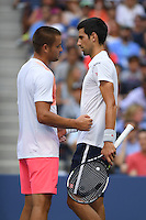 FLUSHING NY- SEPTEMBER 02: Novak Djokovic Vs Mikhail Youzhny as Youzhny retires from his match with Djokovic on Arthur Ashe Stadium at the USTA Billie Jean King National Tennis Center on September 2, 2016 in Flushing Queens. Credit: mpi04/MediaPunch