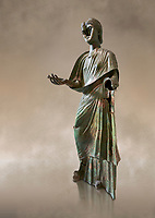 Bronze statue of Roman empress Julia Aquilia Severa found at Sparta. circa 221-222 AD.  Athens National Archaeological Museum, Cat No X23321.<br /> <br /> The women in the Bronze statue wears a Chiton and himation and would have had a crwon on her head. The hair style is typical of the Severan dynisty. Julia Aquilia was the last wife of emperor Elagobalus (218-222 AD) and the damage to the statue is due to a building collapsing on it after a fire circa 221-222 AD