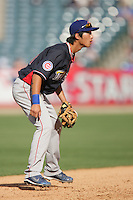 Hak-Ju Lee of the Chicago Cubs organization participates in the Futures Game at Angel Stadium in Anaheim,California on July 11, 2010. Photo by Larry Goren/Four Seam Images