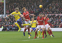 Leeds United's Ezgjan Alioski gets a heaader on goal<br /> <br /> Photographer Mick Walker/CameraSport<br /> <br /> The EFL Sky Bet Championship - Nottingham Forest v Leeds United - Tuesday 1st January 2019 - The City Ground - Nottingham<br /> <br /> World Copyright &copy; 2019 CameraSport. All rights reserved. 43 Linden Ave. Countesthorpe. Leicester. England. LE8 5PG - Tel: +44 (0) 116 277 4147 - admin@camerasport.com - www.camerasport.com