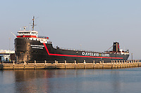 The Steamship William G. Mather Maritime Museum docked on Lake Erie behind the Great Lakes Science Center in Cleveland, Ohio