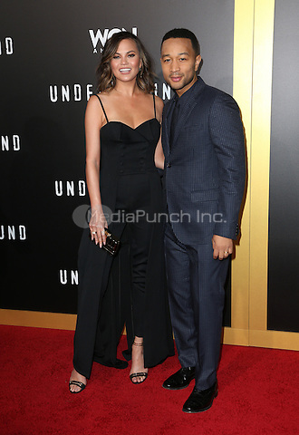 "WESTWOOD, CA - February 28: Chrissy Teigen, John Legend, At Premiere Of WGN America's ""Underground"" Season 2, At The Regency Village Theatre In California on February 28, 2017. Credit: Faye Sadou/MediaPunch"