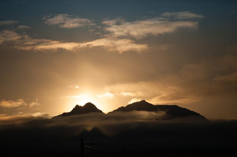 Sunrise over Chugach Mountains near Anchorage, Alaska.