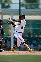 GCL Pirates Angel Basabe (16) bats during a Gulf Coast League game against the GCL Braves on July 30, 2019 at Pirate City in Bradenton, Florida.  GCL Braves defeated the GCL Pirates 10-4.  (Mike Janes/Four Seam Images)
