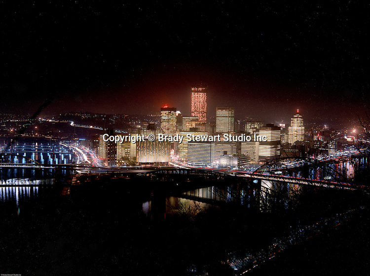 Pittsburgh PA:  Color Photograph of the City of Pittsburgh during light up night  - 1971.