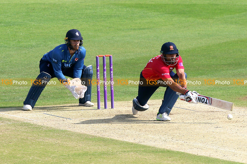Ravi Bopara in batting action for Essex as Adam Rouse looks on from behind the stumps during Kent Spitfires vs Essex Eagles, Royal London One-Day Cup Cricket at the St Lawrence Ground on 17th May 2017