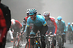 Omar Fraile (ESP) Astana Pro Team in the dark fog on the category 3 climb over Zaratoma during another wet Stage 4 of the Tour of the Basque Country 2019 running 163.6km from Vitoria-Gasteiz to Arrigorriaga, Spain. 11th April 2019.<br /> Picture: Colin Flockton | Cyclefile<br /> <br /> <br /> All photos usage must carry mandatory copyright credit (&copy; Cyclefile | Colin Flockton)