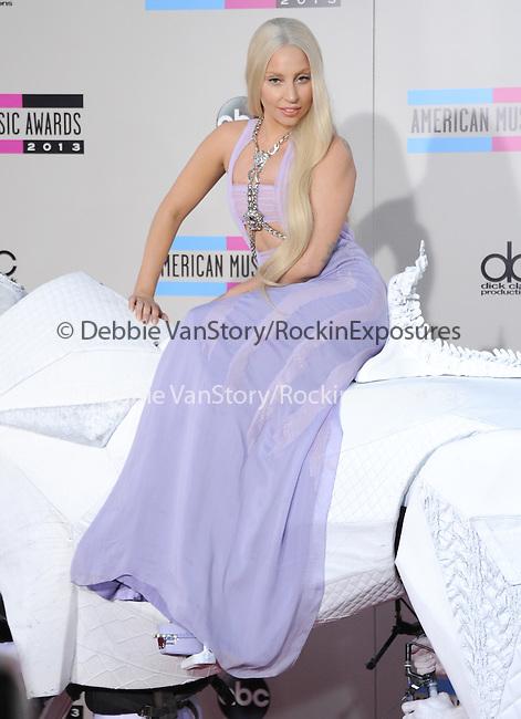 LOS ANGELES, CA - NOVEMBER 24: Lady Gaga arrives at   The 2013 American Music Awards held at Nokia Live in Los Angeles, California on November 24,2013                                                                               © 2013 Hollywood Press Agency