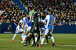 Leganes Nereo Champagne clear the ball vs Real Madrid during Copa del Rey  match. A quarter of final go. 20180118.