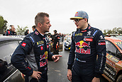 14th April 2018, Circuit de Barcelona-Catalunya, Barcelona, Spain; FIA World Rallycross Championship; Sebastein Loeb 9 and his teammate Hansen #71 at the starting grid