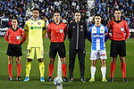 CD Leganes' captain Unai Bustinza and Getafe CF's captain Jorge Molina with the referee Xavier Estrada Fernandez during La Liga match. January 17,2020. (ALTERPHOTOS/Acero)