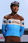 Oliver Naesen (BEL) AG2R La Mondiale on stage at sign on before the 2019 Gent-Wevelgem in Flanders Fields running 252km from Deinze to Wevelgem, Belgium. 31st March 2019.<br /> Picture: Eoin Clarke | Cyclefile<br /> <br /> All photos usage must carry mandatory copyright credit (© Cyclefile | Eoin Clarke)