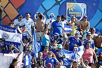 RAVENNA, ITALIA, 10 DE SETEMBRO DE 2011 - COPA DO MUNDO DE BEACH SOCCER - Torcedores de El Salvador sao vistos no Stadium Del Mare antes da partida contra a Russia, pelas semi-finais da Copa do Mundo de Beach Soccer  em Ravenna, na Italia, neste sabado (10). (FOTO: WILLIAM VOLCOV - NEWS FREE).