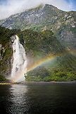 NEW ZEALAND, Fiordland National Park, Rainbow over Lady Bowen Falls, Ben M Thomas