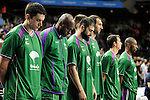 Unicaja´s players keep a silence minute during 2014-15 Liga Endesa match between Real Madrid and Unicaja at Palacio de los Deportes stadium in Madrid, Spain. April 30, 2015. (ALTERPHOTOS/Luis Fernandez)