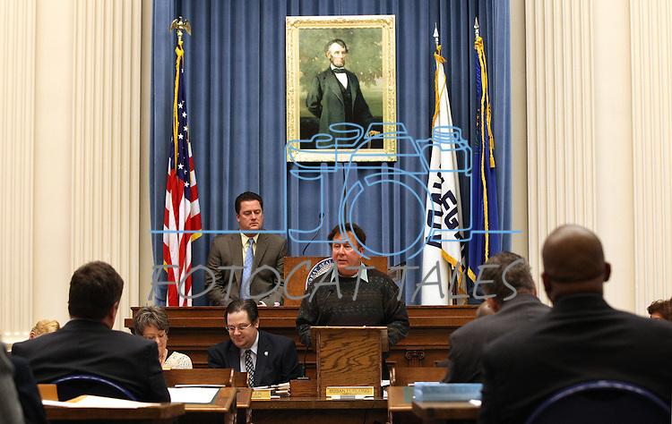 Former state archivist Guy Rocha, center, addresses the Nevada Assembly during the floor session held in the old Assembly Chamber at the Capitol in Carson City, Nev. on Thursday, March 10, 2011. Speaker John Oceguera, D-Las Vegas, is at rear.  .Photo by Cathleen Allison