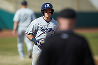 Rylan Bannon (6) of the Xavier Musketeers scores a run against the Penn State Nittany Lions at Coleman Field at the USA Baseball National Training Center on February 25, 2017 in Cary, North Carolina. The Musketeers defeated the Nittany Lions 10-4 in game one of a double header. (Brian Westerholt/Four Seam Images)