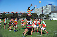 Action from the rugby match between Wellington Under-21 (multi-colour hoops) and Hutt Old Boys Marist Under-21 (green red and white hoops) at Petone Rec, Petone, Wellington, New Zealand on Saturday, 12 September 2015. Photo: Dave Lintott / lintottphoto.co.nz