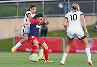 Boyds, MD - Saturday May 07, 2016: Portland Thorns FC midfielder Tobin Heath (17) fights for the ball with Washington Spirit forward Diana Matheson (8) during a regular season National Women's Soccer League (NWSL) match at Maureen Hendricks Field, Maryland SoccerPlex. Washington Spirit tied the Portland Thorns 0-0.