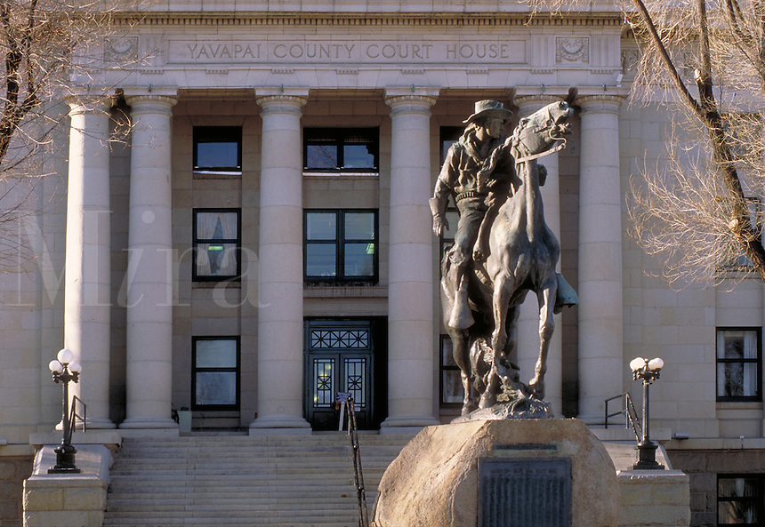 The Bucky O'Neill Monument on the Yavapai County Courthouse Plaza was created by Solon H. Borglum. The monument pays tribute to the First Cavalry (Roosevelt's Rough Riders) and Capt. William (Bucky) O'Neill, organizer of the Rough Riders. Prescott Arizona