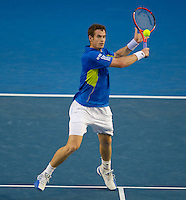 Andy Murray (GBR) (5) against Marin Cilic (CRO) (14).in the Semi-Final of the Mens SIngles. Murray beat Cilic 3-6 6-4 6-4 6-2..International Tennis - Australian Open Tennis - Thur 28  Jan 2010 - Melbourne Park - Melbourne - Australia ..© Frey - AMN Images, 1st Floor, Barry House, 20-22 Worple Road, London, SW19 4DH.Tel - +44 20 8947 0100.mfrey@advantagemedianet.com