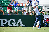 Louis Oosthuizen (RSA) watches his tee shot on 10 during Sunday's final round of the PGA Championship at the Quail Hollow Club in Charlotte, North Carolina. 8/13/2017.<br /> Picture: Golffile | Ken Murray<br /> <br /> <br /> All photo usage must carry mandatory copyright credit (&copy; Golffile | Ken Murray)