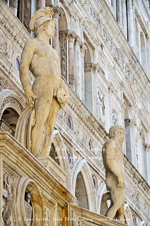 Roman God Mars and Neptune Statues standing inside Doges Palace courtyard, known as the staircase of the Giants, Venice, Italy, Venice, Italy