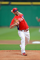 Philadelphia Phillies pitcher Cliff Lee #33 during a Spring Training game against the Boston Red Sox at Bright House Field on March 24, 2013 in Clearwater, Florida.  Boston defeated Philadelphia 7-6.  (Mike Janes/Four Seam Images)
