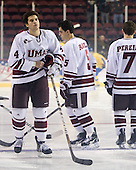 Mike Donnellan (UMass - 4), Anthony Raiola (UMass - 5) - Sweden's Under-20 team played its last game on this Massachusetts tour versus the University of Massachusetts-Amherst Minutemen losing 5-1 on Saturday, November 6, 2010, at the Mullins Center in Amherst, Massachusetts.