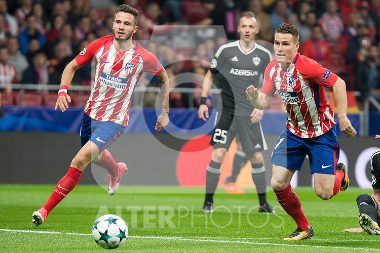 Atletico de Madrid Saul Niguez and Kevin Gameiro during UEFA Champions League match between FK Qarabag and Atletico de Madrid at Wanda Metropolitano in Madrid, Spain. October 31, 2017. (ALTERPHOTOS/Borja B.Hojas)