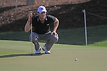 Chris Wood lines up his putt on the 8th green during Day 1 of the Dubai World Championship, Earth Course, Jumeirah Golf Estates, Dubai, 25th November 2010..(Picture Eoin Clarke/www.golffile.ie)