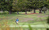 """A player isolates during a solo round at Whitford park. Golf during Level 3 Covid 19 isolation regulations. Players playing as part of their """"bubble"""" or solo. Whitford park and Formosa Golf Courses. Thursday 30 April 2020. Photo: Simon Watts/www.bwmedia.co.nz"""