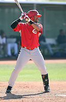 David Cook of the Cincinnati Reds plays in a minor league spring training game against the Cleveland Indians at the Indians complex on March 26, 2011 in Goodyear, Arizona. .Photo by:  Bill Mitchell/Four Seam Images.