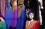 Display of belly dancer costumes in shop window in Turkey