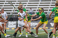 Towson, MD - March 25, 2017: Towson Tigers Natalie Sulmonte (11) attempts a shot during game between Towson and Oregon at  Minnegan Field at Johnny Unitas Stadium  in Towson, MD. March 25, 2017.  (Photo by Elliott Brown/Media Images International)