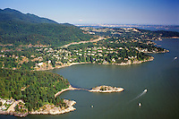 Aerial View of Whytecliff Park, Whyte Island, Howe Sound, and Coast Mountains, West Vancouver, BC, British Columbia, Canada