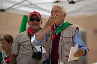 """Arnaldo """"Nando"""" Cavaterra (Antifascist Partizan. Member of the Partigiani: the Italian Resistance during WWII).<br /> <br /> Rome, 25/04/2018. Today, to mark the 73rd Anniversary of the Italian Liberation from nazi-fascism ('Liberazione'), ANED Roma & ANPI Roma (National Association of Italian Partizans) held a march ('Corteo') from Garbatella to Piazzale Ostiense where a rally took place attended by Partizans, Veterans and politicians – including the Mayor of Rome and the President of Lazio's Region. From the organisers Facebook page:<<For the 25th of April, the 73rd Anniversary of the Liberation of Italy from nazi-fascism, while facing new threats to the world peace, it is necessary to remember that the Fight for Liberation triggered the greatest, positive, 'break' of the whole modern age of the Italian history. The Fight for the Liberation was supported by a great solidarity of the people. The memory of those who in the partizan struggle, in the camps of imprisonment, internment or extermination, opposed - even until the sacrifice of life - the dictatorship, the greed of territorial conquests, crazy ideologies of race supremacy, constitutes concrete warning against any attempt to undermine the foundations of the free institutions born of the Resistance. Memory is not an instrument of hatred or revenge, but of unity in a spirit of harmony without discriminations...<br /> (For the full caption please read the PDF attached at the the beginning of this story).<br /> <br /> For more info please click here: https://bit.ly/2vOIfNf & https://bit.ly/2r4iJy3 & http://www.anpi.it<br /> <br /> For the Wikipedia's page of the 'Liberazione' please click here: https://en.wikipedia.org/wiki/Liberation_Day_(Italy)<br /> <br /> For a Video of the event by Radio Radicale please click here: https://www.radioradicale.it/scheda/539534/manifestazione-promossa-dallanpi-in-occasione-della-73a-festa-della-liberazione"""