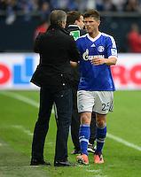 FUSSBALL   1. BUNDESLIGA   SAISON 2012/2013    31. SPIELTAG FC Schalke 04 - Hamburger SV          28.04.2013 Trainer Jens Keller (li) und Klaas Jan Huntelaar (re, FC Schalke 04)
