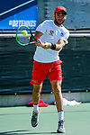 SURPRISE, AZ - MAY 12: Fernando Tous of the Barry Buccaneers returns a ball against the Columbus State Cougars during the Division II Men's Tennis Championship held at the Surprise Tennis & Racquet Club on May 12, 2018 in Surprise, Arizona. (Photo by Jack Dempsey/NCAA Photos via Getty Images)