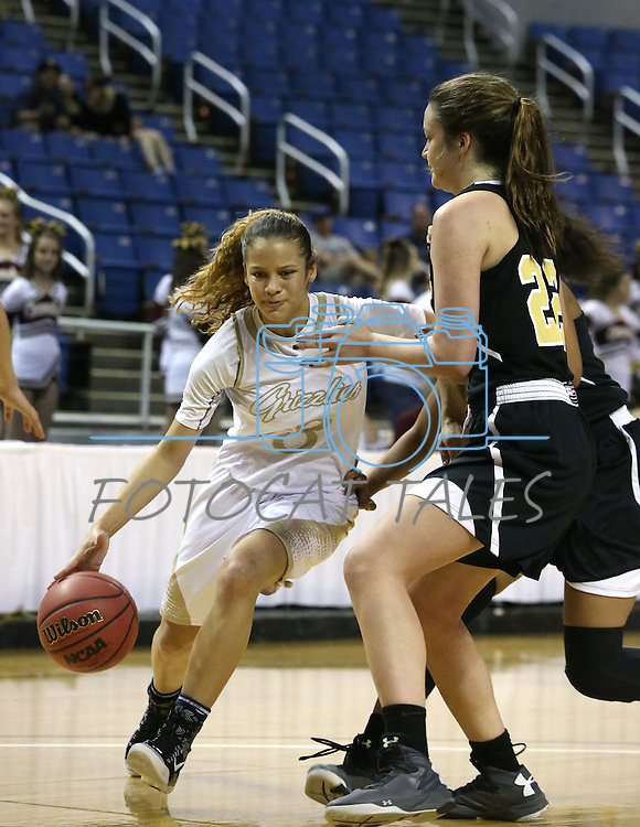 Spring Valley's Essence Booker drives past Faith Lutheran's Emily Kirvin during the NIAA Division I-A state basketball championship in Reno, Nev. on Saturday, Feb. 27, 2016. Faith Lutheran won 50-47. Cathleen Allison/Las Vegas Review-Journal