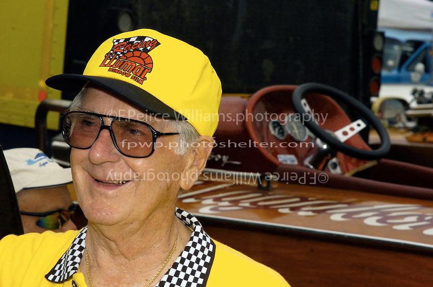 """U-8 owner Bill Wurster..J. W. Myers, U-8 """"Llumar""""..2004 Madison Regatta, Madison, Indiana, July 4, 2004"""